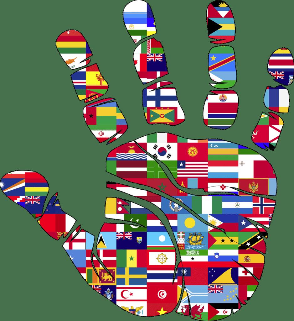 Mano con bandiere